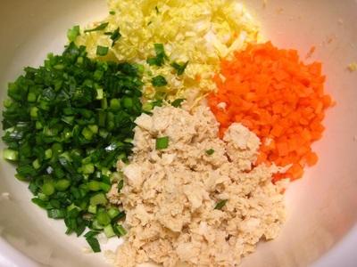 凍り豆腐のニラ餃子①.JPG