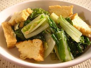 晩生菜と厚揚げのオイル蒸し.JPG