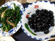 黒豆煮・春菊の和え物.JPG